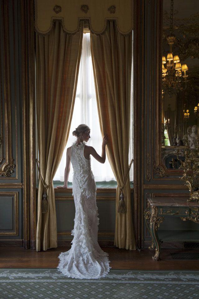 Dress by Rita Colson Cliveden Bride collection 'Juliet' Laser cut full lace dress with a train. #clivedenhouse #luxury #bridalwear #brides #couture #bespoke #lace #white #ritacolson #elegance #bridalgown #ethicalfashion #bridesmagazine #britishdesigners #opulent www.ritacolson.com