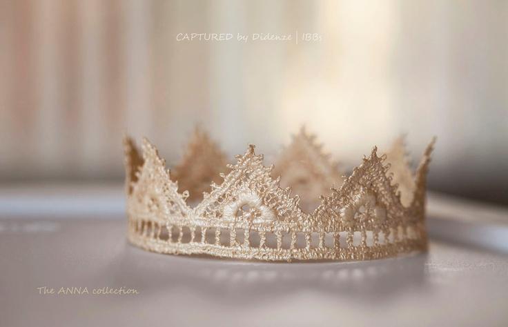 Lace Crown, Baby Photo Prop, Ivory Lace Crown, Baby Girl Princes Crown, Ivory Newborn Tiara, Champagne Lace Halo, Newborn Size. $14.00, via Etsy.