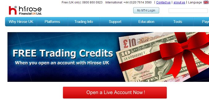 Hirose Financial UK – $ 10 No Deposit Bonus  1) Open a LION Trader(Act Trader) or LION MT4 Account within the specified period above  2) Hirose Financial UK will deposit 10 ($, £, €) Trading Credits into your trading account within one business day.
