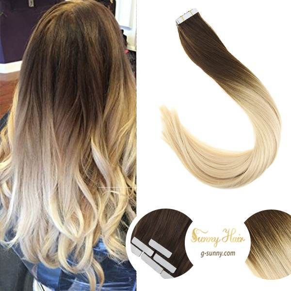 Sunny Hair Tape In Ombre Dark Brown And Bleach Blonde Human Hair