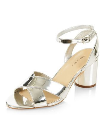 New Look Sale £10 Silver Cross Strap Heeled Sandals