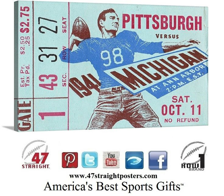 Vintage Sports Art. Vintage ticket art. Historic sports art. Best Father's Day Gift Ideas 2014. Father's Day Gift Ideas on Pinterest. '41 #Michigan #Wolverines #Pitt art #mobile #digital #ecommerce #gifts #startups #entrepreneurs #sportsbiz #startup Unique Michigan sports gifts made from vintage Michigan football tickets. #47straight #rowonebrand #row1 #fathersday