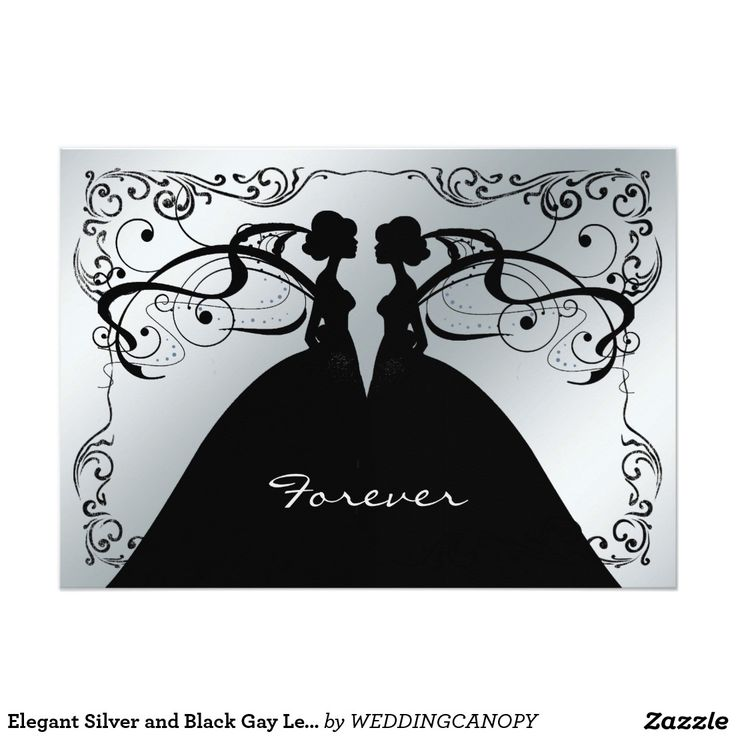 wedding card invitation cards online%0A Elegant Silver and Black Gay Lesbian Wedding Invit     X     Invitation Card