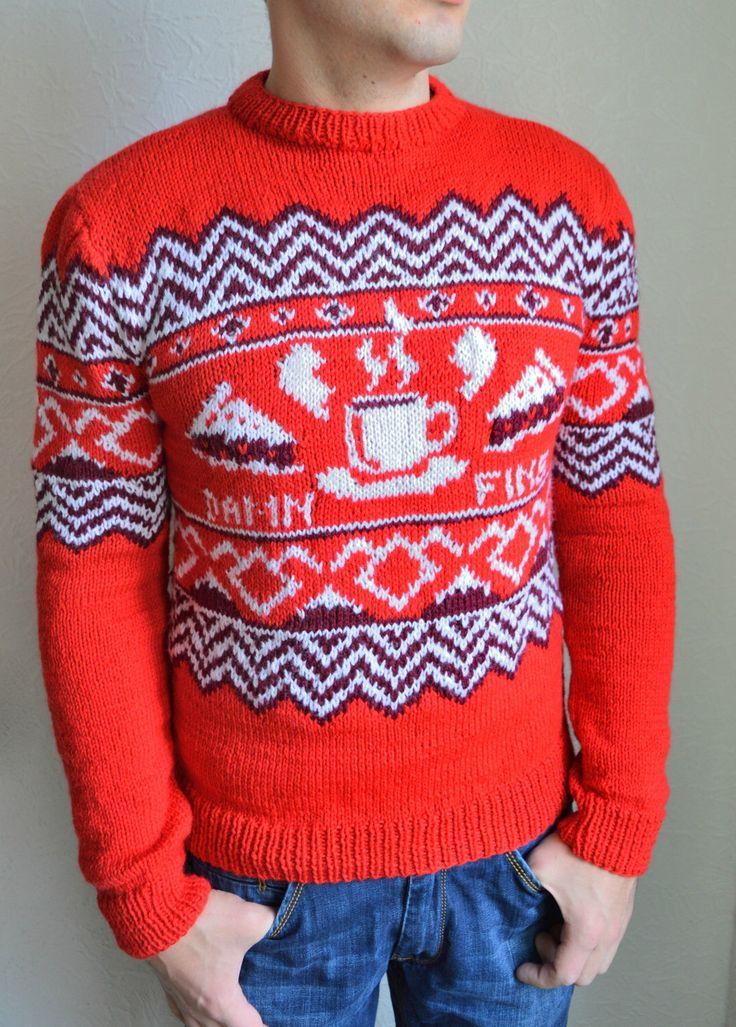 Hand knitted ''Twin Peaks'' men's sweater by VidaKnitworks on Etsy https://www.etsy.com/listing/253310693/hand-knitted-twin-peaks-mens-sweater