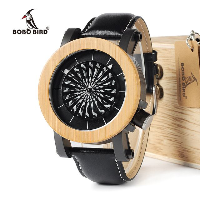 Daily Deals $50.99, Buy BOBO BIRD WM06M07 Mechanical Watch Top Brand Luxury Maple Pine Wooden Wrist Watches for Men Cool Rotating Dial Luxury