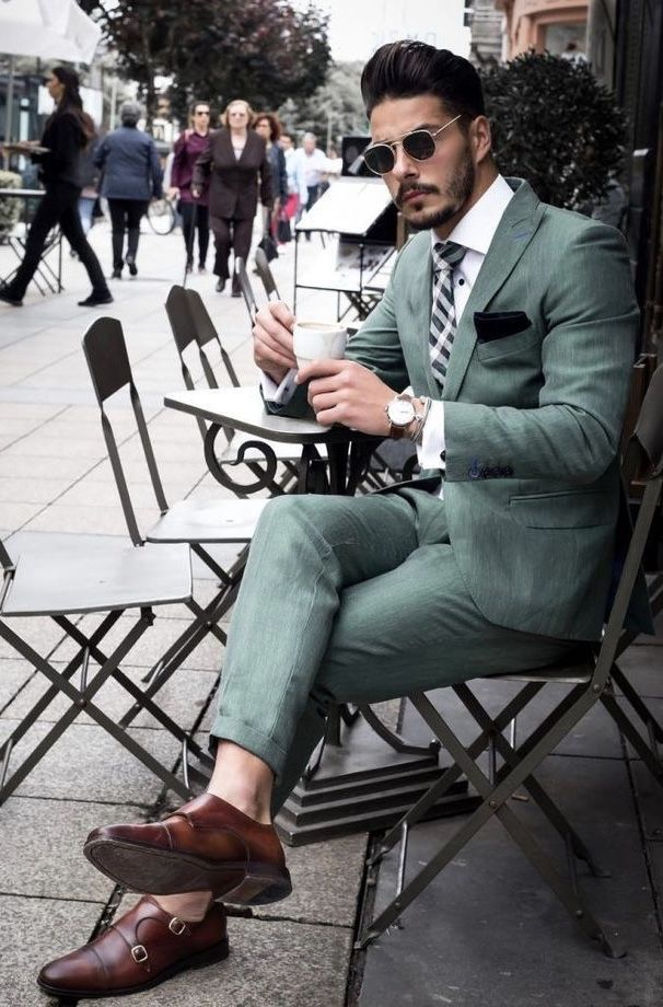 green suit with brown double monk shoes no show socks