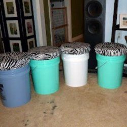 Bucket Stools DIY Dorm Decor.... Hmmmm, I wonder how I could make them less bucket-y. or maybe use a different kind of container (would milk crates work?) I'll think about this.  Good for storage and seating, probably stackable too. I'll think about this some more.