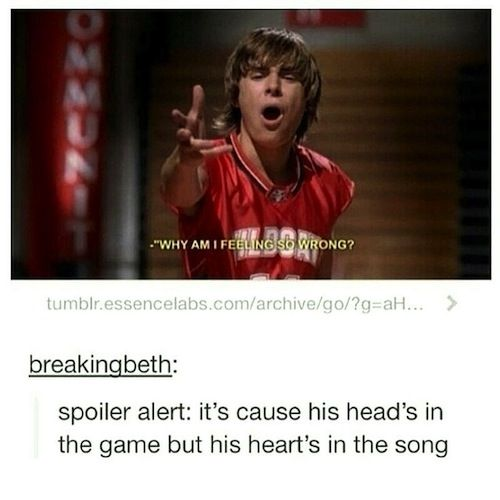 Singing a whole song about not wanting to explore your love of singing. Because HSM logic!