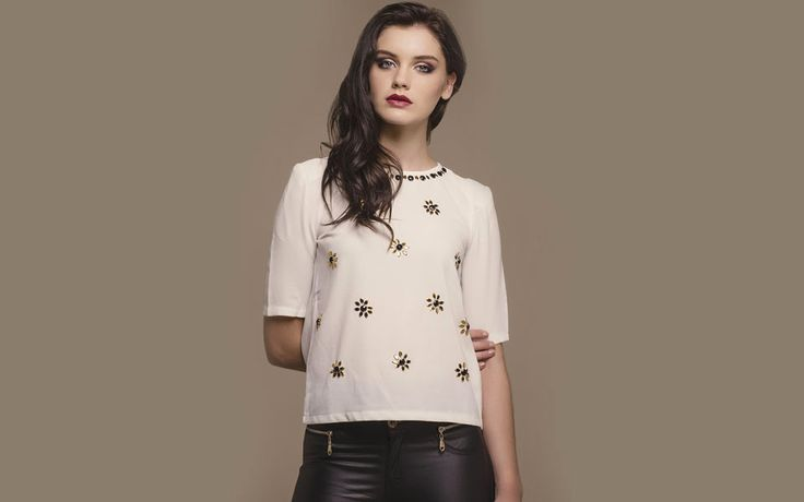 http://www.iclothing.com/alishe-jewel-3-4-sleeved-top-in-cream-46895 #iclothing #AW14 #AutumnStyle