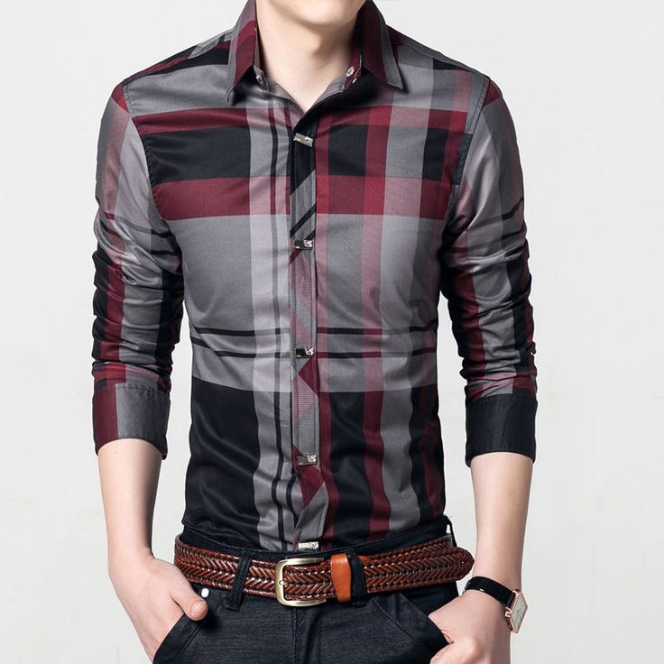 New Men's Fashion Button Plaids Luxury Casual Slim Fit Stylish Dress Shirts  6286
