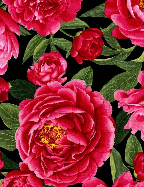 Large dark pink peony flowers cover this by RedRoosterQuiltshop