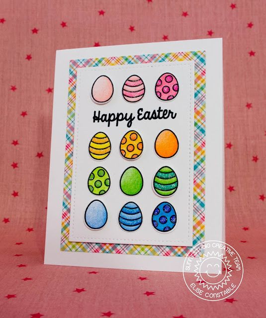 Sunny Studio Stamps: A Good Egg Rainbow Easter Egg Card by Elise Constable.