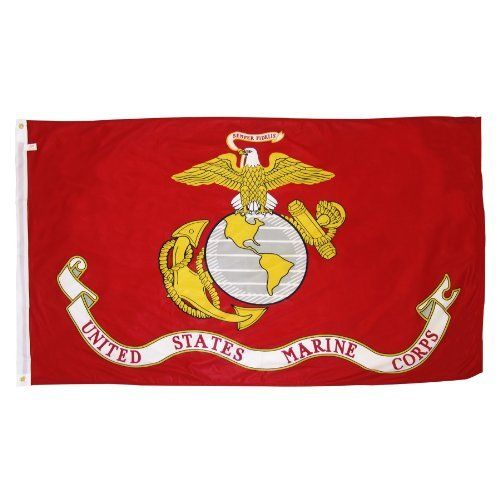 Online Stores Superknit Polyester Marine Corps Flag, 3 by 5-Feet by Online Stores. $8.28. Very durable. Very attractive. Canvas header and brass grommets. The Superknit fabric is more durable than the printed polyester fabric and in many cases lasts as long as the more expensive nylon flags. All of our Superknit polyester flags have a heavy duty header, brass grommets and stitching on the fly end which extends durability.. Save 45%!