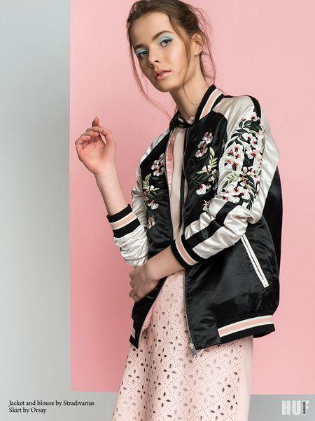 sugar and spice fashion editorial. bomber jacket stradivarius, tie neck blouse