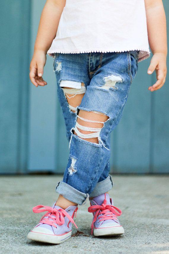 Boyfriend Jeans- Distressed Denim for Girls, Baby Girls- Toddler Girls Boyfriend Fit Jeans- Girlfriend Jeans