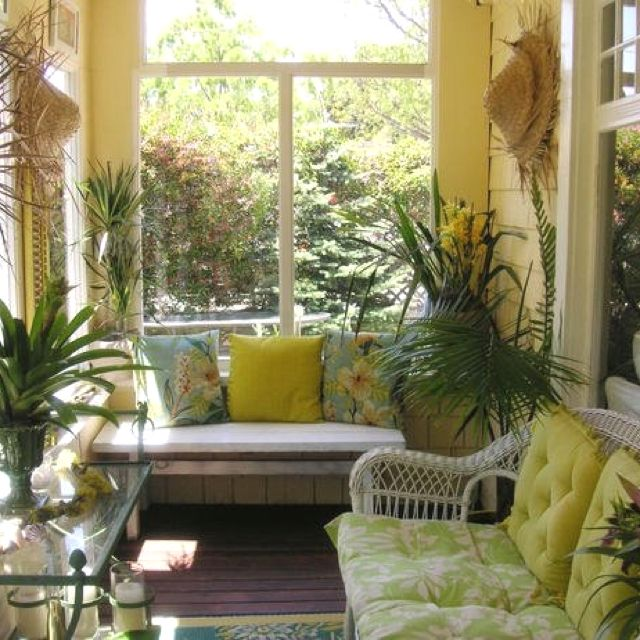 Image Detail For   Sunroom Window Seat Wicker Plant Decor
