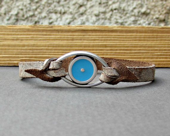 Evil Eye Bracelet Mens Leather Bracelet Cuff  by GUSFREE on Etsy
