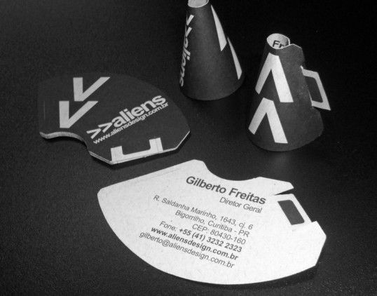 """""""An original, foldable business card created for Aliendesign advertising agency. The form of megaphone suggests the objectives of the company – communication, information, advertising by making things louder."""""""