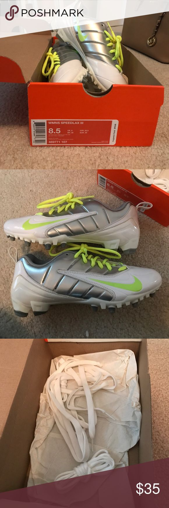 Women's Nike Lacrosse Cleats Basically brand new Nike Speedlax III lacrosse cleats, size 8.5. Only worn once, comes with white laces as well. Nike Shoes Athletic Shoes