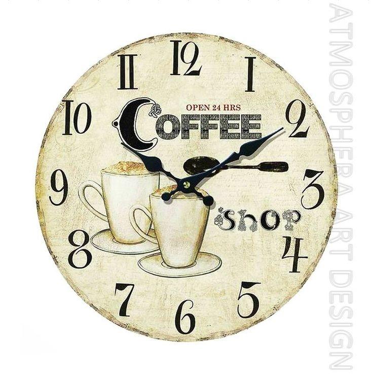Orologio COFFEE a muro da parete Ø 34 cm in legno MDF shabby chic
