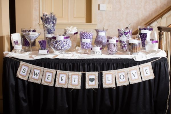 purple candy and dessert bar, purple and burlap sweet love banner, classic purple and gray wedding, Abby Grace Photography