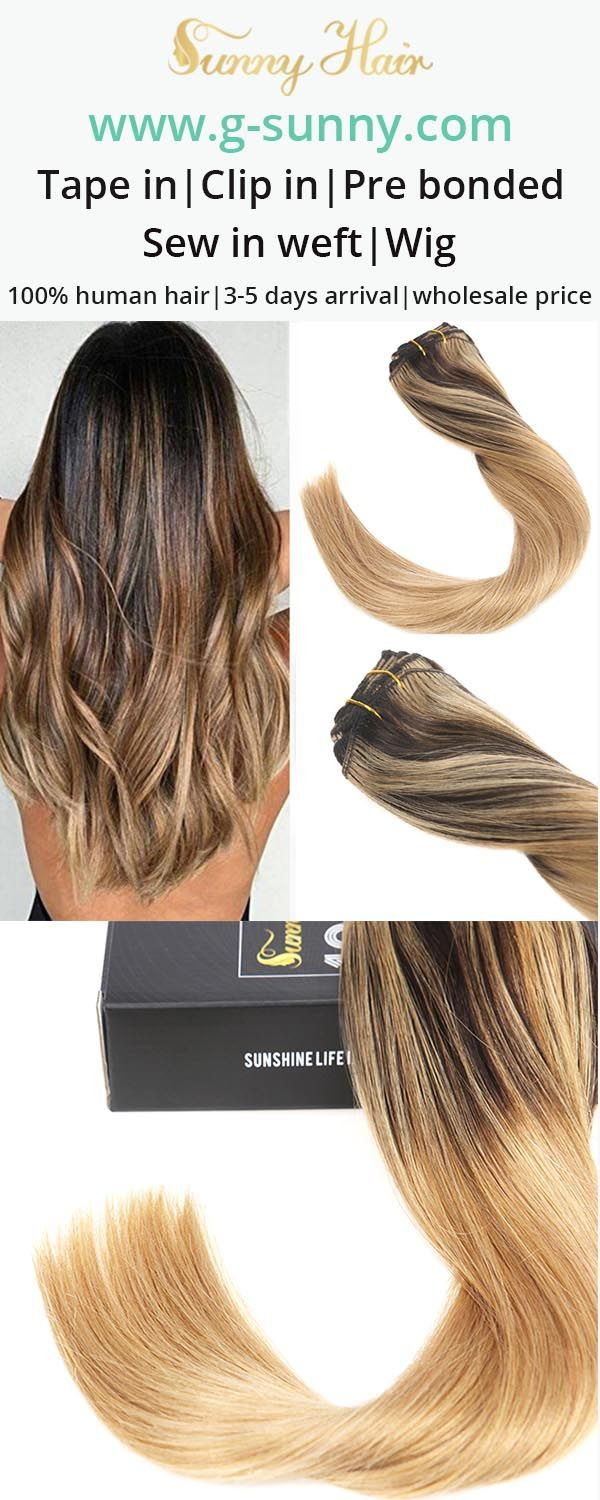 Sunny Hair 100% real human hair extensions. Brown to blonde mixed balayage hair color clip in human hair extensions, get fuller longer hair within 3 minutes. www.g-sunny.com