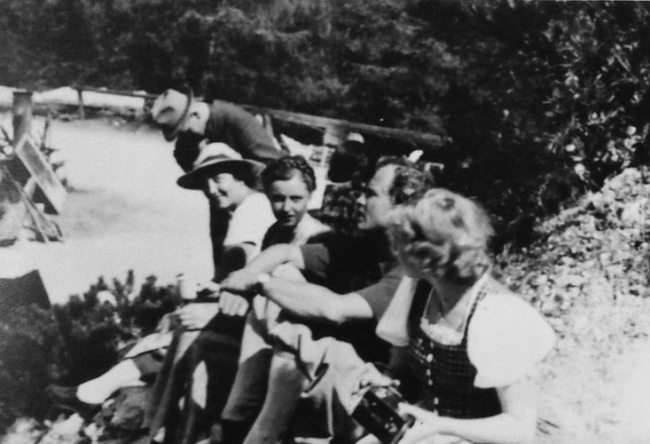 Eva Braun (front) with Austrian actress Hansi Knoteck on the set of Der laufende Berg in 1941. Footage from the set of this film can also be seen on Braun's home movies. These images were included in pages of Eva Braun's photo albums and cataloged as such when I viewed and photographed them in the National Archives.