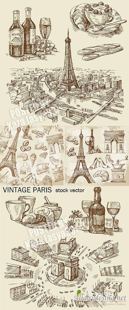 "Карандашные наброски на тему ""Старый Париж""  Vintage Paris 2"