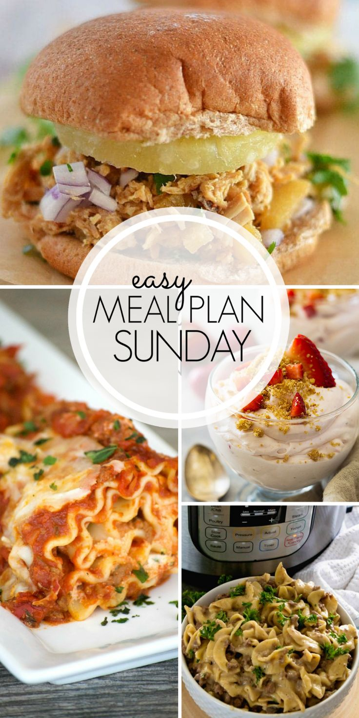 With Easy Meal Plan Sunday Week 101 - six dinners, two desserts, a breakfast and a healthy menu option will help get the week's meal planning done quickly!