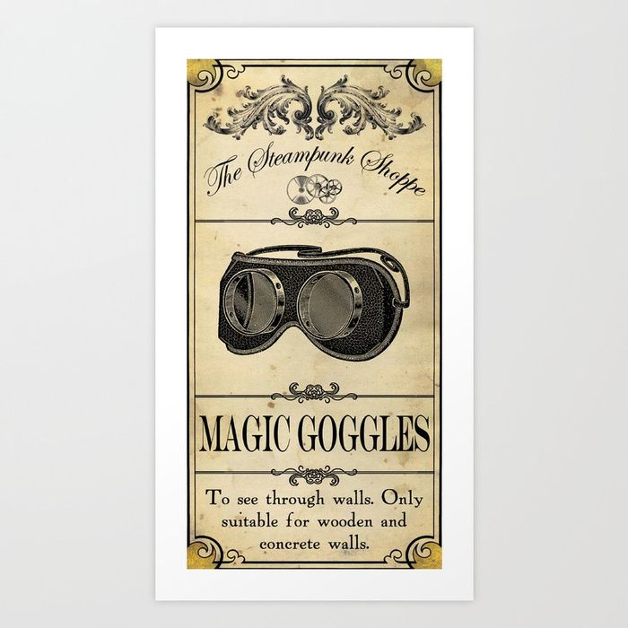Steampunk Apothecary Shoppe - Goggles Art Print by VectoriaDesigns   Society6