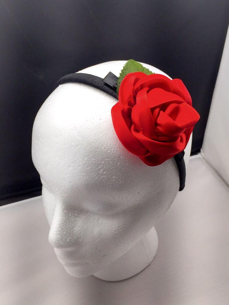Satan Red Rose Headband by SerenityBowsSewEasy on Etsy https://www.etsy.com/listing/267698099/satan-red-rose-headband