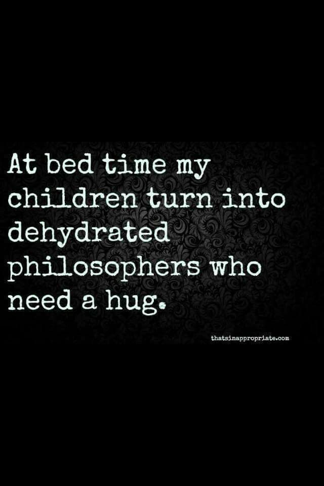"Kaleb for sure!!!! And needs a kiss. And always has to have ""Sleepy Time"" lotion!! Aka. Bath and body works Sleep lotion."