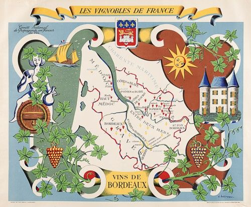 Vins de Bordeaux retro 1950s French wine poster