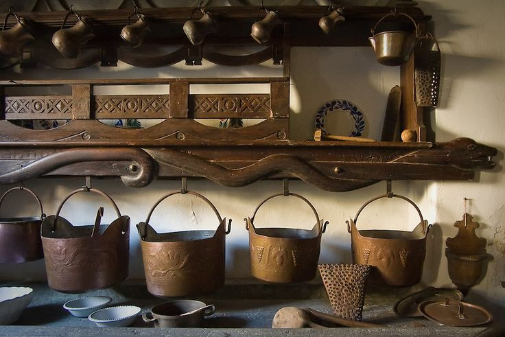 Coppper pans found in old house in the Carnia Alps of Italy.