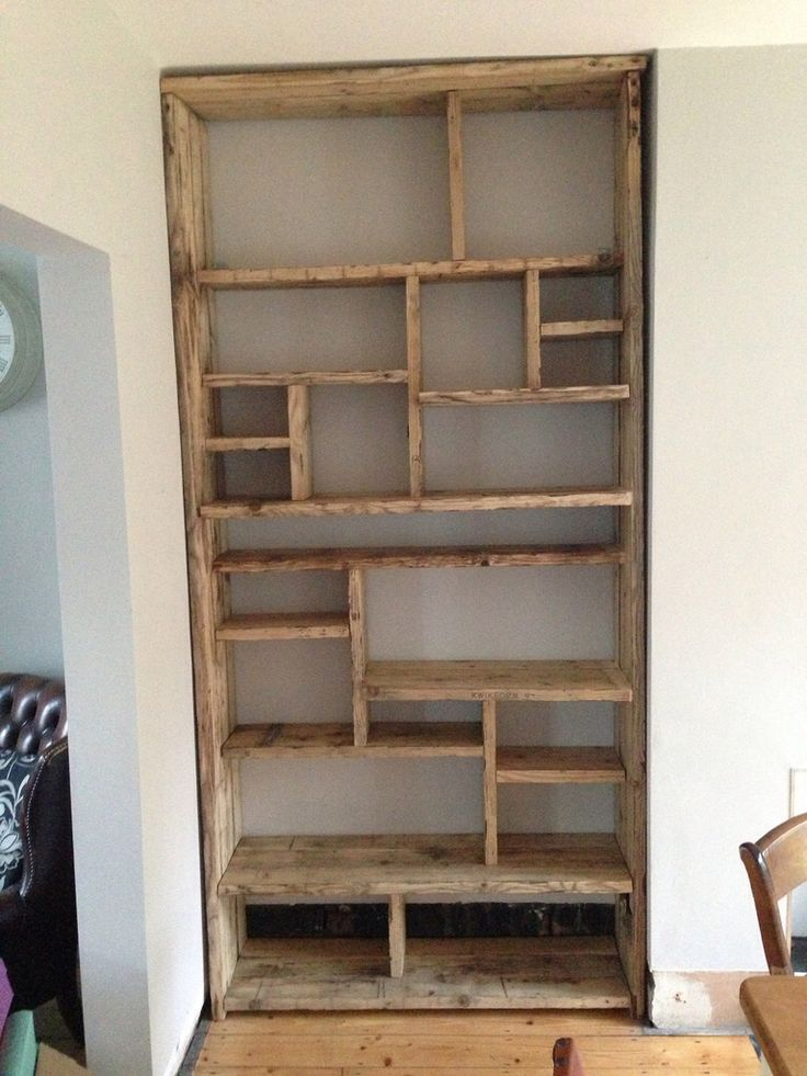 IDEA do similar style in alcoves but paint shelves light matt grey/beige  Scaffold board shelves (empty)