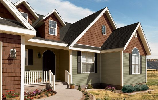 Two tone siding dream house exteriors pinterest for Vinyl siding colors on houses