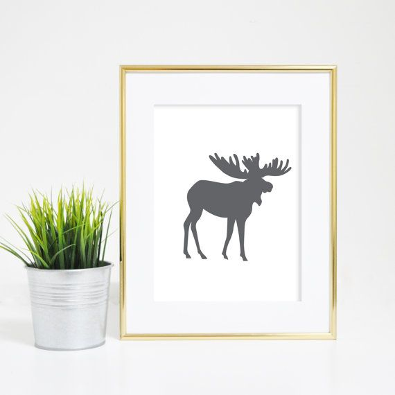 Downloadable Print Grey Moose Print Moose Art by PrintsbyJettyHome