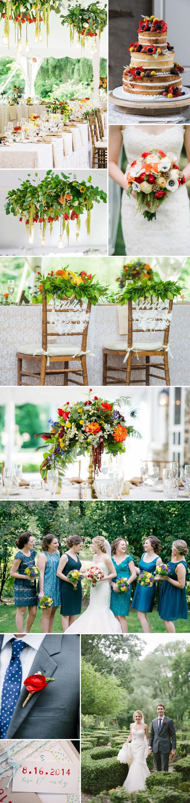BL Real Wedding: Lisa + Andy - Gorgeous Hanging Florals + Naked Wedding Cake - Click on link for more loveliness: http://www.beaconln.com/blog/