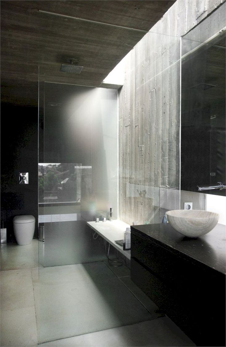 43 nice and minimalist bathroom with the glass wall with a concrete - Minimalist Bathroom Design