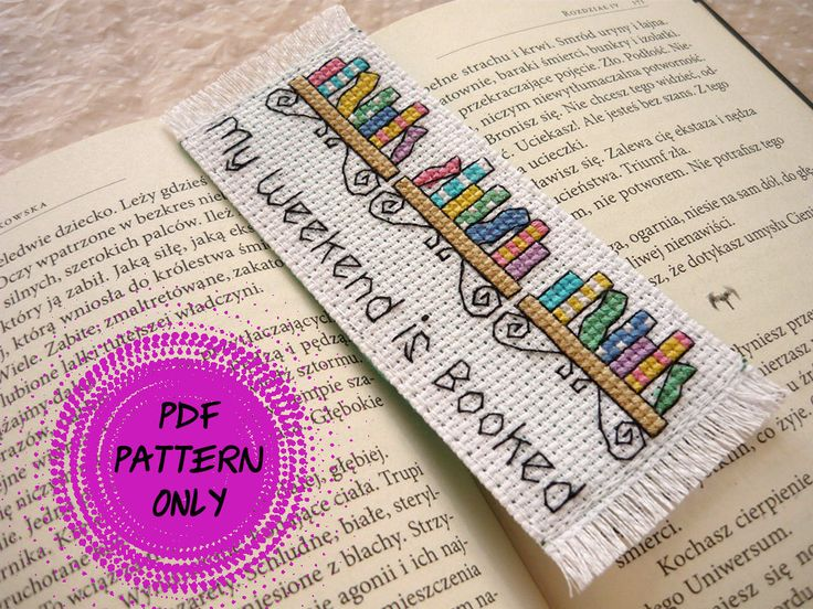 Pattern - Cross stitch bookmark - My weekend is booked (download pdf) by MariAnnieArt on Etsy #mariannieart #etsy #crossstitch #bookamark #crossstitchbookmark #bookworm #booklovergift #geekgift #booknerd