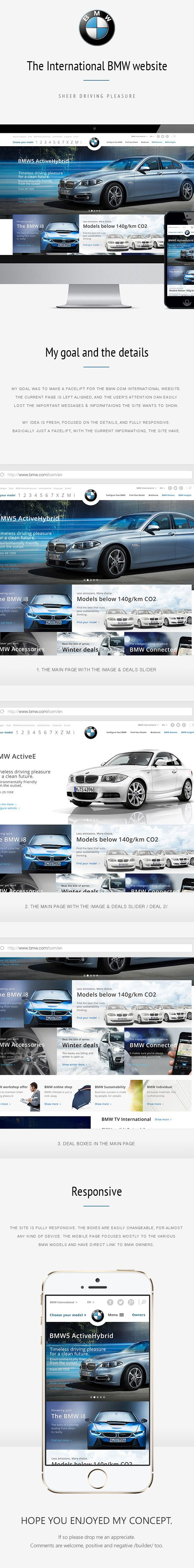 Bmw website facelift concept almost every elements remain the same just gave some life