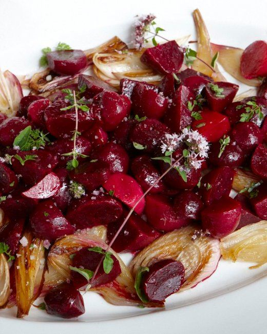 Roasted Beet and Onion Salad from Martha Stewart.  Beet lovers rejoice and enjoy this great flavor combination with roasted onion and balsamic vinegar.  YUM!