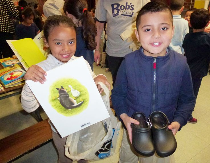 More than 500 pairs of new shoes were donated at James Otis Elementary School in East Boston.