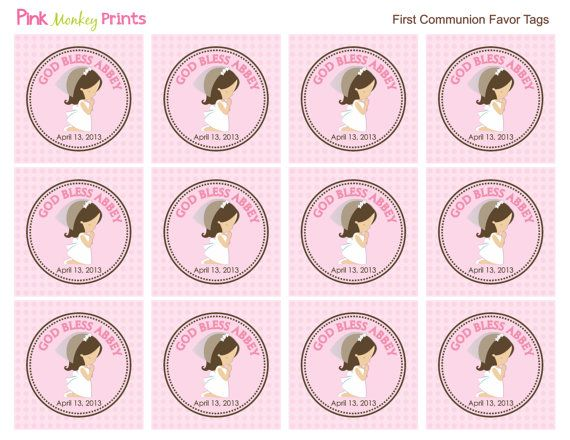 DIY  Girls First Communion Favor Tags by PinkMonkeyPrints on Etsy, $3.95