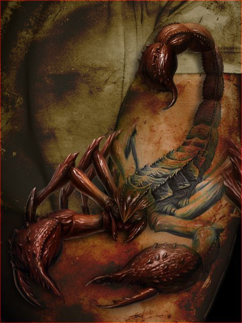 Becouse of the succes from the crocodile tattoo {[link] I made another one. This one is more grunge style. Update! I have Added the right legs of the scorpion. To vieuw the old version look here: