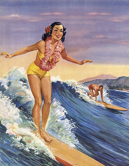 Vintage surfing girl poster                                                                                                                                                                                 More