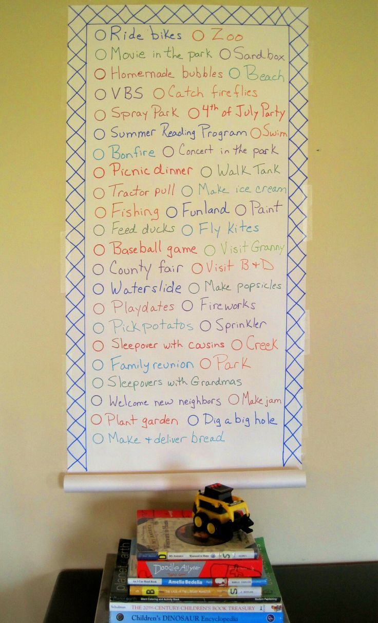 Summer kids list. We need to make one of these.
