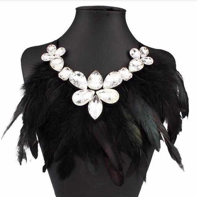 Boho Style Collar with Feathers & Crystal Stones