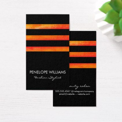 #Stripes Orange Black Business Card - #cosmetologist #gifts #beauty
