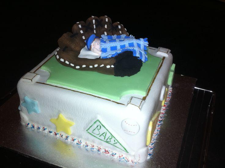 Baseball glove baby shower cake - found idea for baby in glove on internet - created by Diane DK Designs